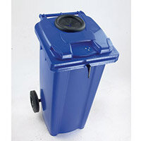 Wheelie Bin 140 Litre with Bottle Bank Aperture and Lid Lock Blue 124557