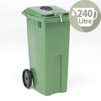 Wheelie Bin 240 Litre with Bottle Bank Aperture and Lid Lock Green 124565