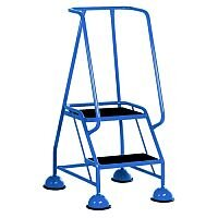 VFM Light Blue Two Tread Mobile Steps Height 1.185m Capacity 125kg