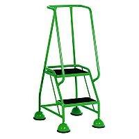 VFM Green Two Tread Mobile Steps Height 1.185m Capacity 125kg