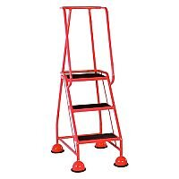 VFM Red Three Tread Mobile Steps Height 1.425m Capacity 125kg