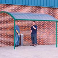 Large Wall Mounted Smoking & Bike Shelter Green Steel Frame