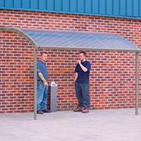 Large Wall Mounted Smoking & Bike Shelter Light Grey Steel Frame