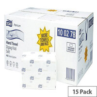 Tork White Extra Soft Single I Fold Paper Hand Towel 200 Towels Per Sleeve 15 Sleeves 3000 Sheets) 100278