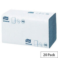 Tork Blue Universal Single I Fold Hand Towel for H3 System 20 Sleeves of 200 Towels (4000 Sheets) 290145