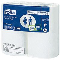 Tork T4 Dispenser Conventional Toilet Paper Rolls White Tissue Refills 200 Sheet (Pack of 36) 472150