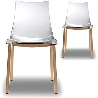 Natural Zebra Antishock Canteen & Breakout Wooden Leg Chair Transparent Set of 2