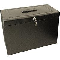 Cathedral Foolscap Black Metal File Box
