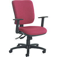 Senza high back operator chair with adjustable arms, chrome base and seat slide - made to order