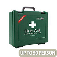 St John Ambulance Workplace First Aid Kit – High Quality, BS-8599-1:2011, Suitable For Work Environment, Durable, Wall Bracket, Carry Handle & Medium Size For 25-50 Person (F30608)
