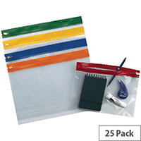 Snopake Zippa Bag A4 Assorted Pack of 25 12796