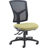 Senza high mesh back operator chair with no arms, chrome base and seat slide - made to order