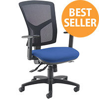 Senza high mesh back operator chair with adjustable arms - blue