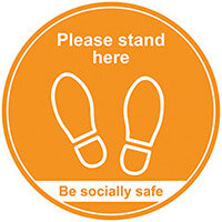 400mm Floor Graphic Please Stand Here Amber STP008
