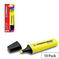 Stabilo Boss Highlighter Pen Yellow Single Blister Pack 10 B-10129