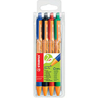 Stabilo Green Pointball Retractable Ball Pen Pack of 4 6030/4