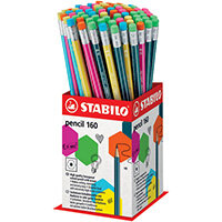 Stabilo 160 Pencil with Eraser Mini Display Pack of 72 2160/72-1HB