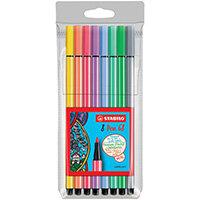 Stabilo 68 Felt Tip Pen Wallet Assorted Pastel Pack of 10 68/8-01