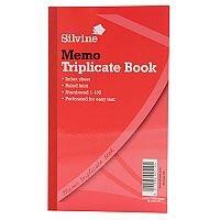 "Silvine Red Triplicate 8x5"" Memo Book Pack of 6"