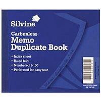 Silvine Carbonless Duplicate Memo Book Pack of 12 703-T