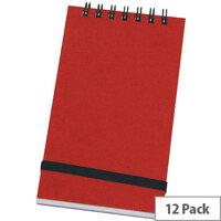 Silvine Red Spiral Bound Elastic Notebook Pack of 12 194