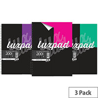 Silvine Luxpad Printed Hardback Wirebound Notebook 200 Pages A4+ Pack of 3 LUXA4FM