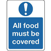 Sign All Food Must Be Covered Aluminium 300x100