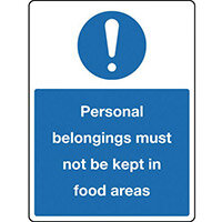 Sign Personal Belongings 300X100 Rigid Plastic Personal Belongings Must Not Be Kept In Food Areas