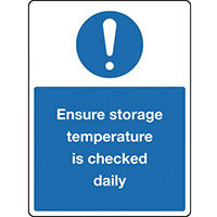 Sign Ensure Storage Temp 150x200 Rigid Plastic