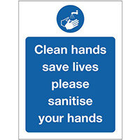 Sign Clean Hands Rigid Plastic 300x100