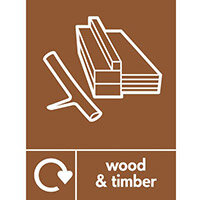 "Recycling Sign ""Wood & Timber"" Rigid Plastic 150x200mm"