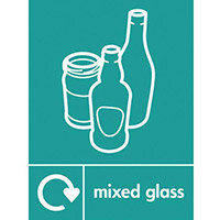 "Recycling Sign ""Mixed Glass"" Rigid Plastic 150x200mm"
