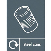 "Recycling Sign ""Steel Cans"" Rigid Plastic 150x200mm"