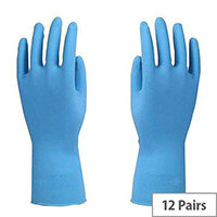 Azure Rubber Gloves Latex Gloves Size L Blue Pack of 12
