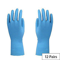 Azure Rubber Gloves Latex Gloves Size M Blue Pack of 12