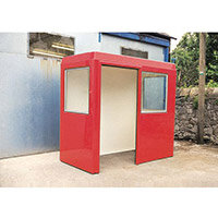 Waiting Shelter  With Windows Red L:2400 W:1500 H:2250mm