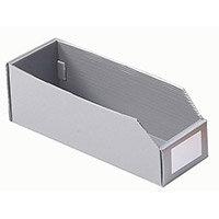 Twin Walled Small Part Storage Polypropylene Bins HxWxL 100x100x450mm Silver Grey Pack of 50