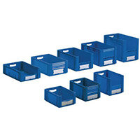 Xl Container 600x400x270 mm (Lxwxh). Solid Sides. Pick Open Front. Blue