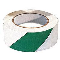 Tape  Warning 6 Rolls Of Green/ White Width 50mm