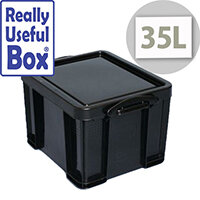 Really Useful Box 35L Recycled Plastic Black Storage Box