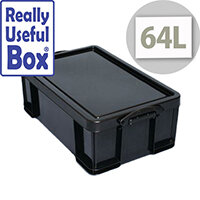Really Useful Box 64L Black Polypropylene 100% Recycled Box