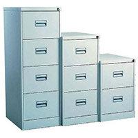 Filing Cabinet Midi Light Grey Steel HxWxD: 711x458x622mm 2 Filing Drawers