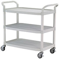 Large 3 Shelf Service Cart Open Sided Cart White