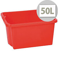 Stack & Store Box 50L Red - Lightweight stack and nest box - Without Lid
