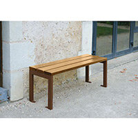 Silaos 1200mm Bench  Timber Slats Finished In Light Oak Colour Stain Preserver  Steel Structure Zinc