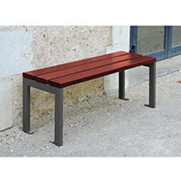 Silaos 1200mm Bench  Timber Slats Finished In Mahogany Colour Stain Preserver  Steel Structure Zinc Prim