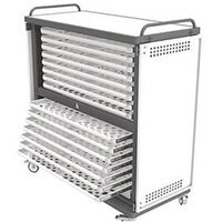 Lapstore Secure Charge Trolley For Up To 30 Large Size Laptops Light Grey & Black