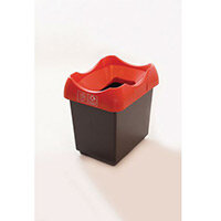 30 Litre Recycling Bin With Grey Body Red Lid & Graphic