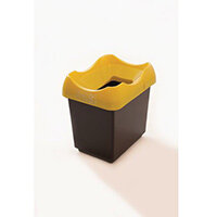 30 Litre Recycling Bin With Grey Body Yellow Lid & Graphic