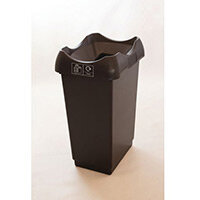 50 Litre Recycling Bin With Grey Body Black Lid & Graphic